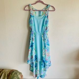 Teal floral high-low dress